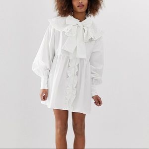 Sister Jane Button Down Mini Smock Dress with Bow